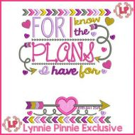 I Know the Plans JEREMIAH 29:11 Tribal Arrows Word Art Applique 5x7 6x10 7x11 (Blank)