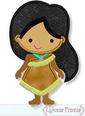 Cutie Princess as Pocahontas Applique 4x4 5x7 x610