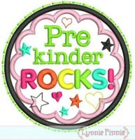 Pre Kinder Rocks Applique Circle Scallop 4x4 5x7 6x10