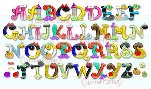 Pretty Princess Alphabet Embroidery Font - 3 sizes