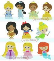 Mini Princess Design Set - 10 Filled Minis in 3 sizes 4x4