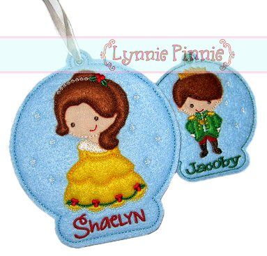 Prince & Princess Christmas Ornament Design Set 4x4 5x7 In the Hoop