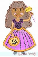 Princess Pumpkin Applique with Curly Hair 4x4 5x7