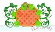 Pumpkin Flourish Applique 4x4 5x7 6x10 SVG