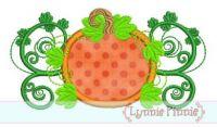 Pumpkin Flourish Applique 4x4 5x7 6x10 SVG