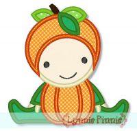 Pumpkin Baby Applique 4x4 5x7 6x10