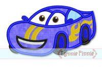 Happy Race Car Applique 4x4 5x7 6x10 SVG