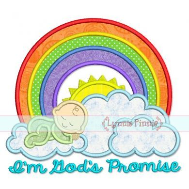 Rainbow Baby God's Promise Applique 4x4 5x7 6x10 7x11 SVG