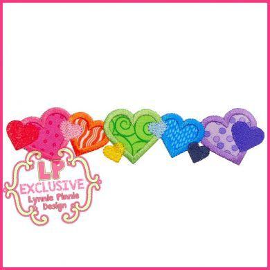 Rainbow Hearts Applique 4x4 5x7 6x10 7x11 SVG