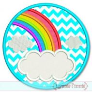 Rainbow Frame Circle Applique 4x4 5x7 6x10 7x11 SVG