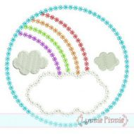 Rainbow Frame Circle DECO Applique 4x4 5x7 6x10 7x11 SVG