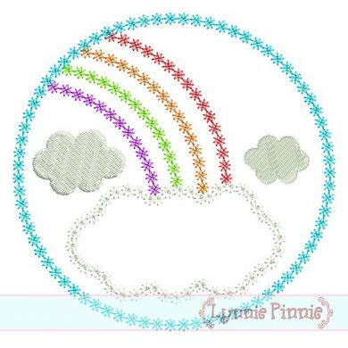 Rainbow Frame Circle DECO Applique 4x4 5x7 6x10 7x11 SVG