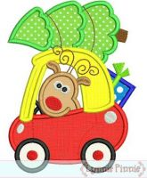 Christmas Reindeer in Coupe Car Applique 4x4 5x7 6x10