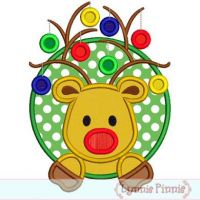Reindeer with Ornaments Circle Frame Applique 4x4 5x7 6x10