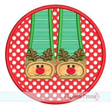 Reindeer Slippers Circle Frame Applique 4x4 5x7 6x10 SVG