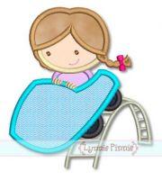 Roller Coaster Girl Applique 4x4 5x7 6x10 7x11 SVG