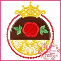 Rose Princess Frame Applique 4x4 5x7 6x10 7x11