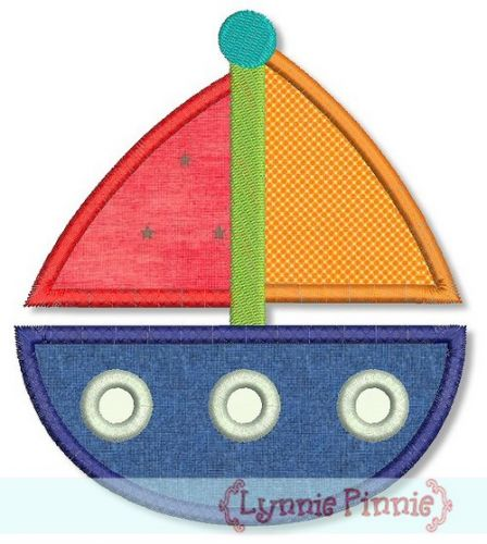 Sailboat Applique 4x4 5x7 6x10