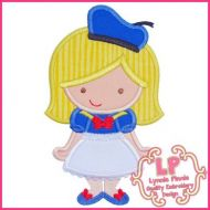 Sailor Girl Applique 4x4 5x7 6x10 SVG