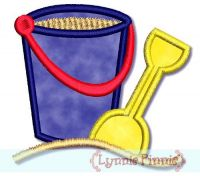 Applique Sand Bucket Pail with Shovel 4x4 & 5x7 6x10