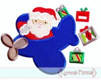 Santa in Airplane Applique 4x4 5x7 6x10 SVG