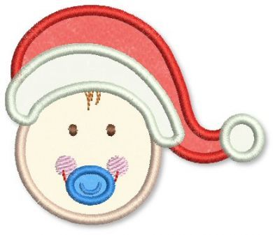 Santa Hat Baby Boy Applique 4x4 5x7 6x10
