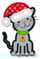 Santa Hat Kitten Applique 4x4 5x7 6x10