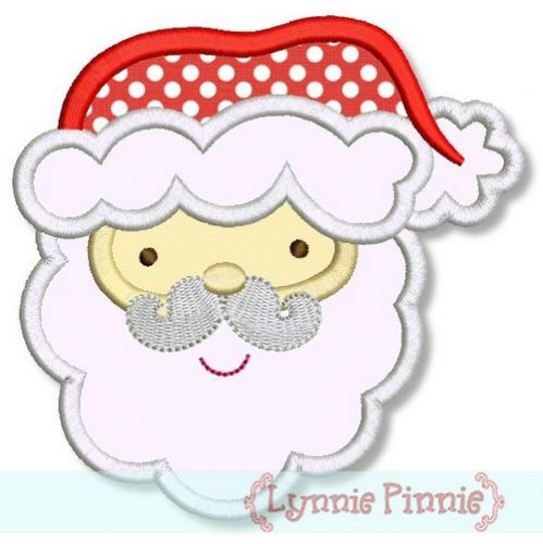 Santa Face Applique 4x4 5x7 6x10
