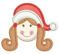 Santa Hat Girl Applique 4x4 5x7 6x10