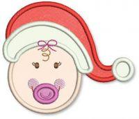 Santa Hat Baby Girl Applique 4x4 5x7 6x10