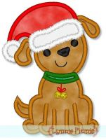 Santa Hat Puppy Applique 4x4 5x7 6x10
