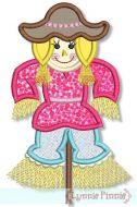 Scarecrow Girl Applique (optional fringe) 4x4 5x7 6x10