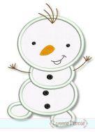Silly Snowman Applique 4x4 5x7 6x10 SVG