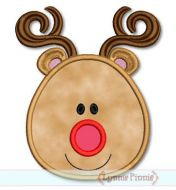 Simple Reindeer Face Applique & Mini 4x4 5x7 6x10 SVG