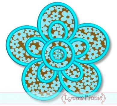 Simple Flower Applique Applique Machine Embroidery Design File 4x4 5x7 6x10