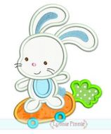 Bunny on Carrot Skateboard Applique 4x4 5x7 6x10 7x11 SVG