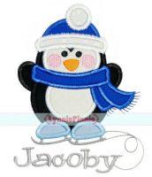 Skating Penguin Applique 4x4 5x7 6x10 7x11 SVG