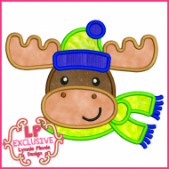 Cute Winter Moose w/ Scarf Applique 4x4 5x7 6x10 7x11 SVG