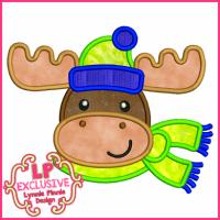 Cute Winter Moose w/ Scarf Applique 4x4 5x7 6x10 7x11 SVG