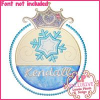 Snow Princess Frame Applique 4x4 5x7 6x10 7x11