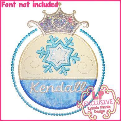 Snow Princess Frame Applique 4x4 5x7 6x10 7x11