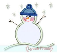 Snowman Applique 4x4 5x7