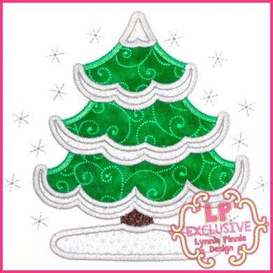 Snowy Tree Applique 4x4 5x7 6x10 7x11 SVG