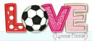 Soccer Ball Love Applique 4x4 5x7 6x10