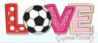 Soccer Ball Love Applique 4x4 5x7 6x10