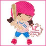 Softball Girl Applique 4x4 5x7 6x10 SVG