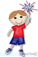 Applique Patriotic Sparkler Boy 4x4 5x7