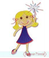 Patriotic Sparkler Girl -Filled 4x4 5x7