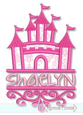 Swirly Split Castle Applique 4x4 5x7 6x10 SVG