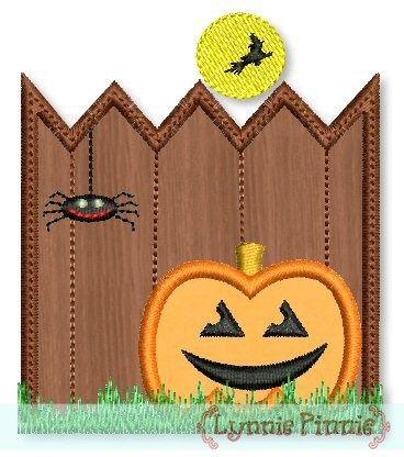 Spooky Fence Applique 4x4 5x7 6x10